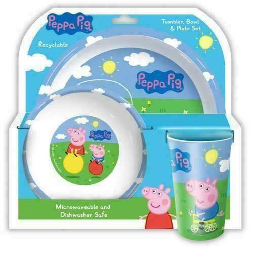 Peppa Pig Peppa Pig & George Tumbler, Piatto e Ciotola, PP, Multi, 8,5 x 23,5 x 23 cm