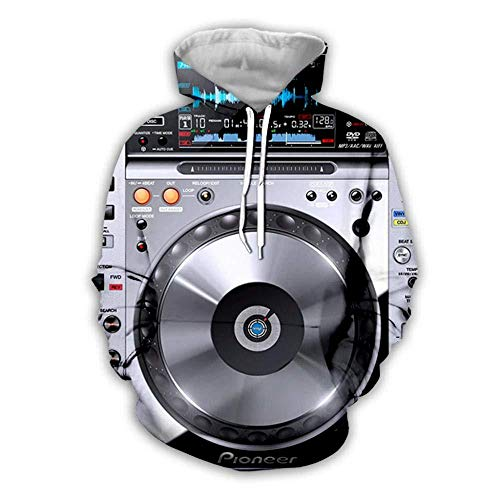 yyqx container Sweat à Capuche 3D Sweat à Capuche DJ Audio 3D Hoodies Unisexe All-Over Imprimé drôle à Manches Longues Pull avec Kangaroo Pocket Hoody Sweat Sweatshirts-Color , 7XL
