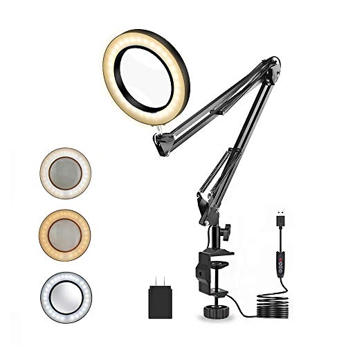 Magnifier Work Clamp Desk Lamp with Swivel Magnifying Glass, NEWACALOX Sewing 42 LED, 3 Colors Illuminated Flexible Lighted Lens for Hobby Reading/Soldering (27INCH)