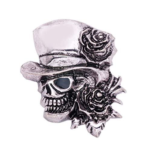 Pin de solapa vintage con diseño de calavera de Halloween con sombrero y rosa para fiesta