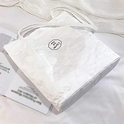 Bolsos de las mujeres retro de papel kraft bolsas de hombro a prueba de salpicaduras de color sólido Carta bolso de la señora simple del estilo bolsos de mano saco femme principal ( Color : White )
