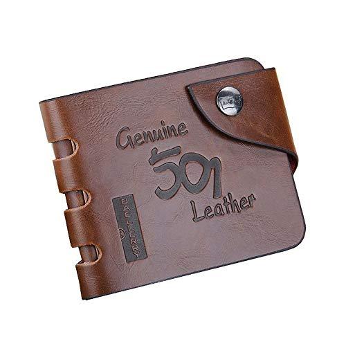 Leder Vintage Brieftasche Herren Geld Tasche Null Brieftasche Schnalle Kupplung Karte Clip Leere Brieftasche Herren Null Brieftasche 9cm x 11cm x 1.5cm 501-1