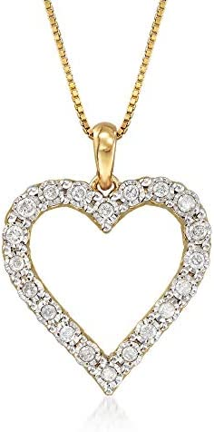 Ross Simons 0 30 ct t w Diamond Heart Pendant Necklace in 18kt Gold Over Sterling 18 inches product image