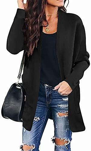 Damski sweter z dzianiny z otwartym przodem zimowy jesienny sweter w kropki płaszcz z długim rękawem znosić (Color : Solidblack, Size : Large)
