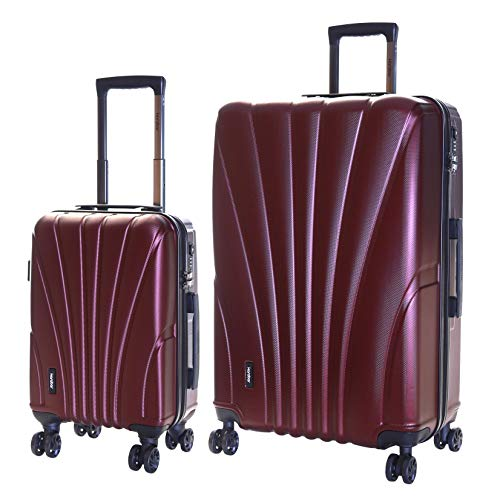 Karabar Set of 2 Hard Shell Luggage Bags Suitcases Cabin Carry-on and Extra Large 4 Spinner Wheels TSA Number Lock, Seashell Dark Red