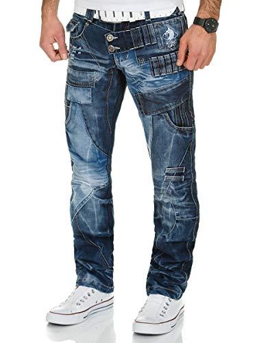 Kosmo Lupo Jeans | Herren Denim Jeanshose | Regular Fit - Straight Leg | Designer K&M Hose | Vintage Clubwear Chino Used | Multi Pocket | Blau (31W / 32L, Blau)