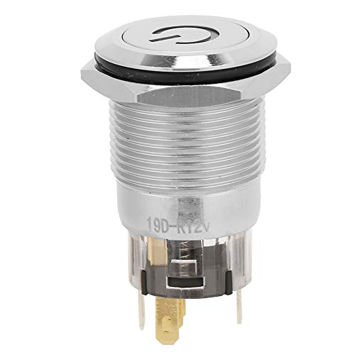Interruptor de botón automático, 19mm Cobre 12VDC BEM-19-11D (rojo)