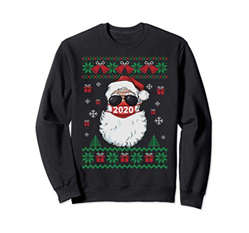 Santa Face Mask Ugly Christmas Sweater 2020 Family Pajamas Sweatshirt