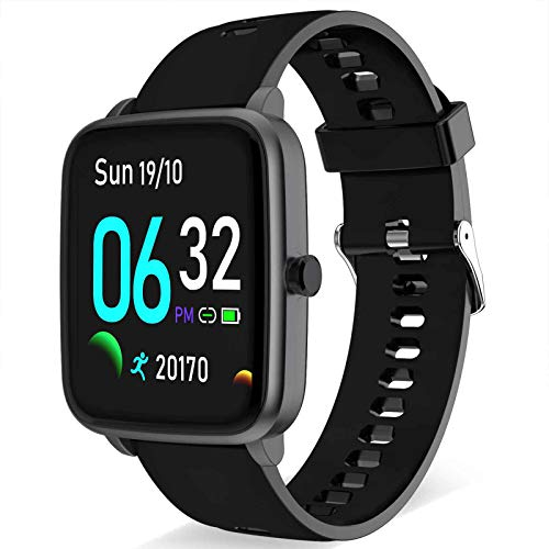 Smart Watch - Fitness and Health Tracker for Men Women with All-Day Heart Rate Monitor Step Calorie Burned Sleep Monitor Smartwatch Activity Tracker Pedometer Compatible with Android iPhone (Black)