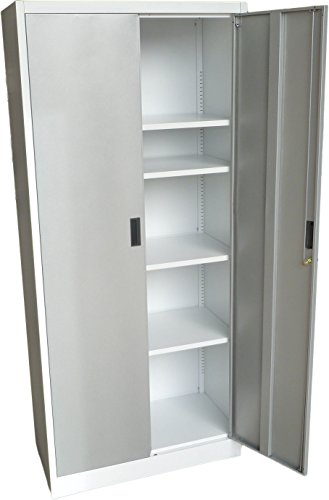 Fedmax Metal Storage Cabinet 71' Tall, Lockable Doors and Adjustable Shelves, 70.86' Tall x 31.5' W x 15.75' D, Great Steel Locker for Garage, Kitchen Pantry, Office and Laundry Room (White)