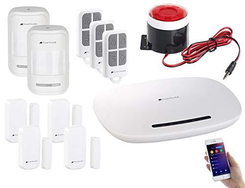 VisorTech Alarmsirene: 11-teilige GSM-Alarmanlage mit App, Funk- & Handynetz-Anbindung (Alarmanlage mit Sirene)