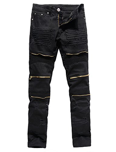 Men's Distressed Ripped Biker Moto Denim Pants Slim Fit Zipper Jeans (W32, Black)