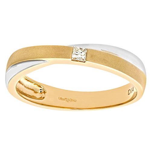 Naava Women's 9 ct Yellow and White Gold Diamond Crossover Solitaire Ring, Size J