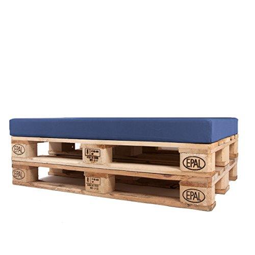 Arketicom Pallett-One Cheope Sitzkissen für Sofa aus Europaletten, wasserabweisend, abnehmbar, Farbe:Ecru, Füllung aus Polyurethan, hohe Dichte, italienische Handwerkskunst 80x60x10 Med Blue