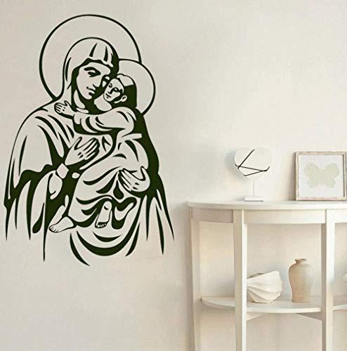 Wandaufkleber Mutter Maria Baby Jesus Kinder Schlafzimmer Babyzimmer Wohnkultur Tür Fenster Vinyl Aufkleber Kirche Kunst Wallpaper Wandbild 42X61Cm