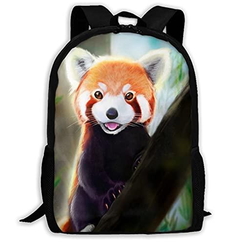 Mochila de viaje con diseño de panda rojo para portátil, capacidad ligera, para guardar papelería, para niñas, niños, escuela, mujeres, hombres, oficina