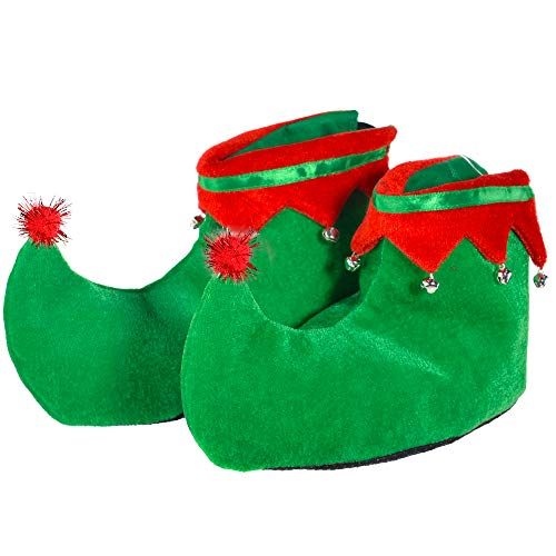 Skeleteen Red Green Elf Shoes - Red and Green Velvet Holiday Elf Feet Slippers with Jingle Bells for Adults and Kids
