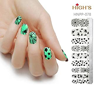 HIGH'S HALLOWEEN DESIGN EXTRE ADHESION Nail Wraps Decals Art Transfer Sticker Collection Manicure DIY Fullnail Polish patch Strips for Wedding, Party, Shopping, Travelling,20pcs (Spider)