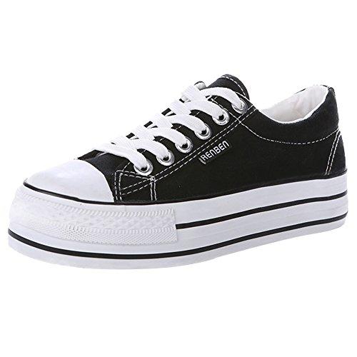 Renben Chicas Mujer Clásico Plataforma Lona Zapatillas Moda Cordón Espadrilla Zapatos Negro 3196 EU37