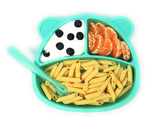 HuBorns. Plato para Bebé con Ventosa + Cuchara de Fácil Agarre - Plato blw de Silicona para Bebé - Platos BLW - Plato y Cuchara de Antideslizante para niños (Azul)