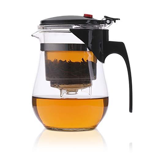 ZHENJIANG Théière en Verre Clair Résistant à la Chaleur avec Infuseur en Acier Inoxydable,Infuseur à thé en verre facile à filtrer avec passoire à thé en plastique PC (500ml)
