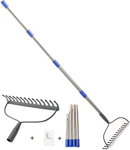 Bow Rake, 14 Tines Heavy Duty Head Rake with Stainless Steel Rubber Grip Handle - Metal Garden Rake for Landscape Cultivator Gardening Loosing Soil, 5 FT