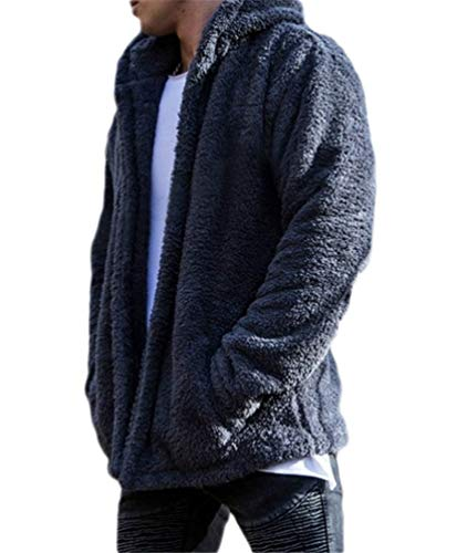 Nicetage Mens Fleece Fuzzy Faux Fur Jacket Hooded Cardigan Open Front Coat with Pockets (HS135-135 Navy Blue L)