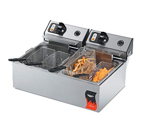 Vollrath 20 Lb. Standard-Duty 220V Electric Split-Pot Countertop Fryer-Cayenne