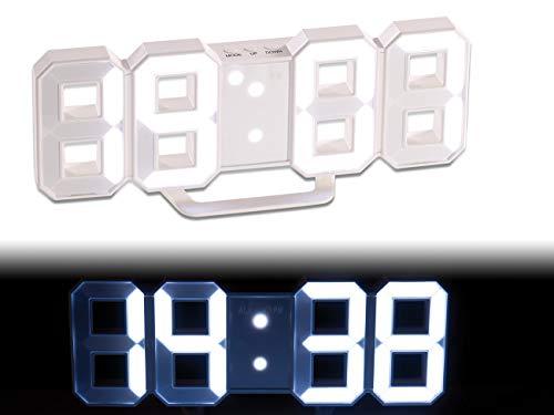 Lunartec 3D: grote led-tafel- en wandklok, 7 segmenten, dimbaar, wekker, 21 cm (digitale klok), wit, 1