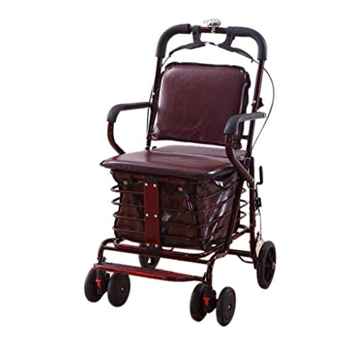 Shopping Trolley Carbon Steel Folding, Shopping Cart For The Elderly, Rolling Hand Car With Seat,Suitable For Heights Above 158 Cm