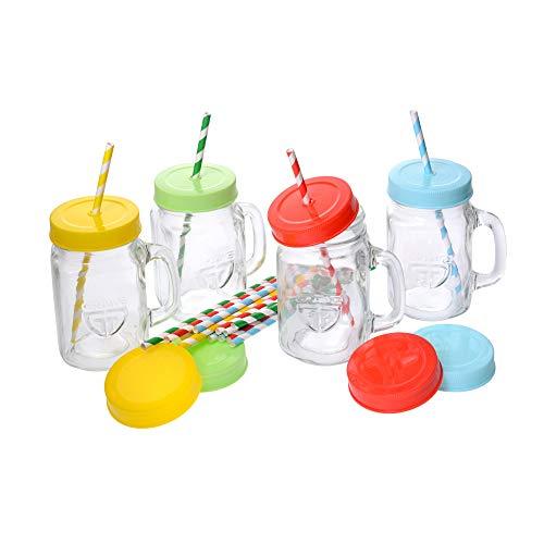 GRÄWE Henkelgläser Set (4 x 450 ml) - 4er Pack Trinkgläser mit Deckel und Strohhalm, Henkel & Schraubverschluss, farbig