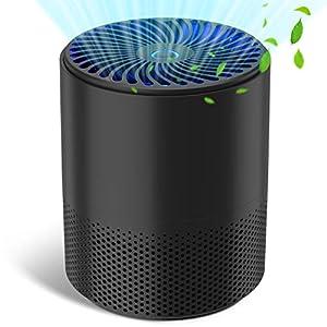 Purificador de Aire Portátil con Filtro HEPA, QUARED USB Filtro de Aire de Escritorio Silencioso con 3 Modos, Lámpara UVC, Elimina Polvo, Polen, Humo, Hogar y Oficina - A16
