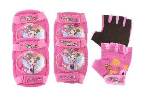 Titan Flower Princess Multi-Sport Protective Pink Pad Set, Elbow Knee and Wrist Guards, Small-Medium