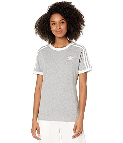 adidas Originals Women's Adicolor Classics 3-Stripes Tee, Medium Grey Heather/White, Large