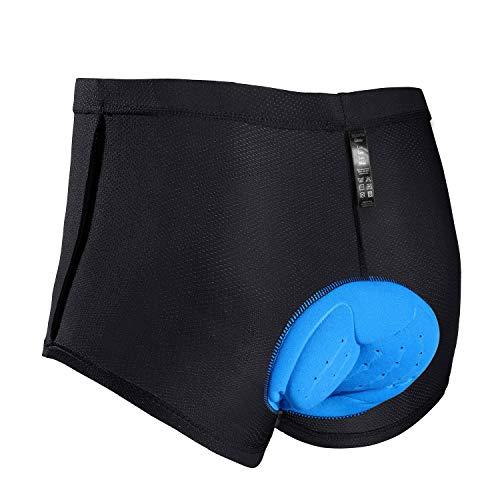 JXJFOZ Radunterhose Herren -Fahrradhose Herren Gepolstert -Radfahrer Unterhose -Fahrradunterhose mit Sitzpolster -Radlerunterhose -Radfahren Unterwäsche mit 3D Gel (L)