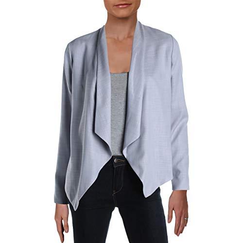 T Tahari Womens Open Front Asymmetric Jacket Blue 4