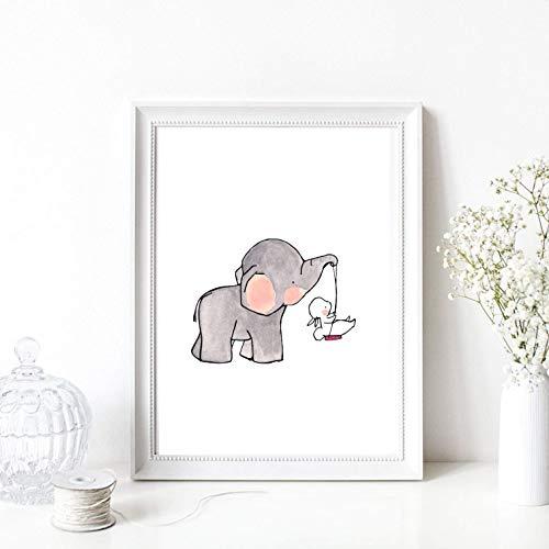 Kunstdruck Din A4 ungerahmt Elefant Hase Schaukel rosa Aquarell Kinderzimmer, Geburt, Babyzimmer Druck, Poster, Bild