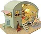 CHENNA 3D Realista Caravana Modelo, Miniatura Hecha a Mano Dollhouse Kit con Caja de música, DIY Creativo romántico cumpleaños y la Navidad Regalo