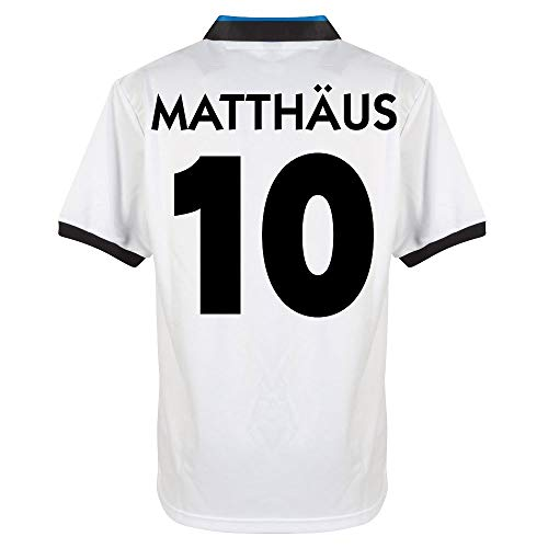 Score Draw Inter Mailand Away Retro Matthäus 10 Trikot 1990-1991 (Retro Filz-Spielerbeflockung) - XL