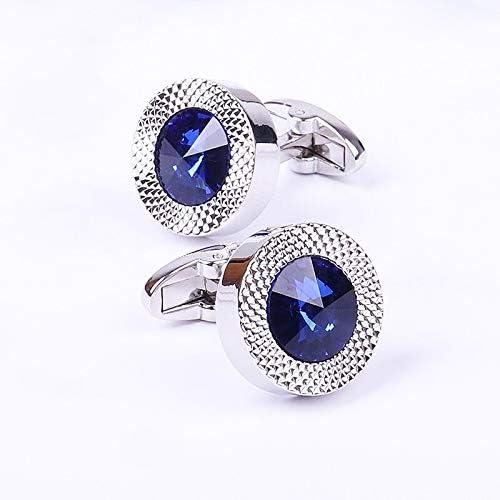 SuoSuo LZWJD Blue Crystal Cone Cufflinks Men Classic Brand Blue Prismatic Cuff Button Designer Men's Shirt Taper Cuff Links