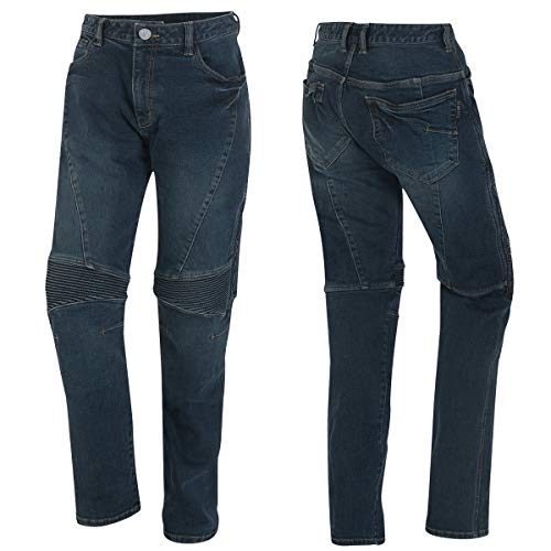 Germot Herren Motorrad-Jeans Joe, herausnehmbare Knie-Protektoren, Slim Fit, blau, Gr. 34/32