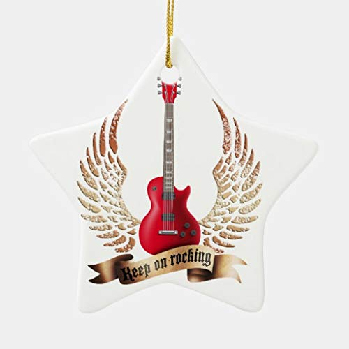 VinMea Xmas Decorative Hanging Ornament for Christmas Tree Keep On Rocking Electric Guitar Wings Heart Holiday Christmas Ceramic Ornament