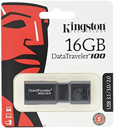 Kingston DT100G3/16GB DataTraveler 100 G3 - Memoria USB de 16 GB, USB 3.0 (100 MB/s R, 10 MB/s W), Color Negro