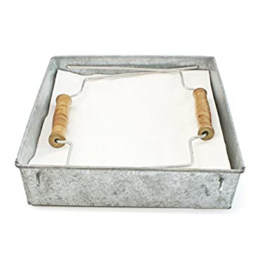 "Well Pack Box Large Rustic Farmhouse Style Galvanized 8"" x 8"" x 2"" Tray Great For Holding Napkins During Picnics Or Dinners and Decoration Of Kitchens"