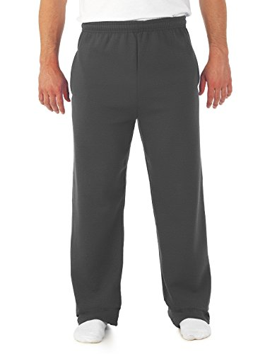 Jerzees Dri-Power Poly Pocketed Open-Bottom Sweatpants, Medium - Black Heather