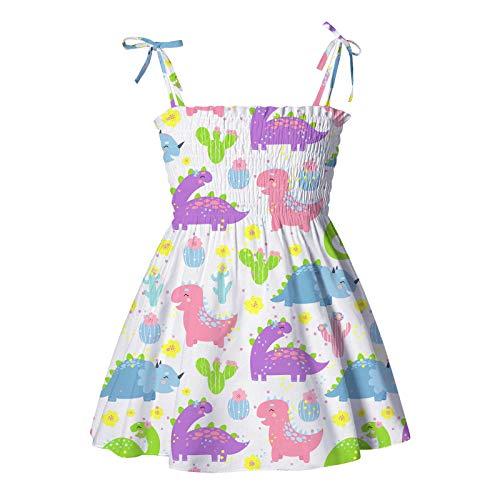 Julhold Lässige Kinderkleidung Mädchen Ärmellose Schleife Schlinge Sommerkleid Sonnenblume Slip Blumen Strandkleid Kleidung Hosenträger Knielänge Strandkleid Fashion Mädchen Kleid(Lila,100)