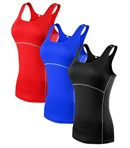 YR.Lover Damen 3er Pack Dry Fit Kompression Running Yoga Tank Top T-Shirt,  L, 3er Pack;Schwarz.Blau.Rot