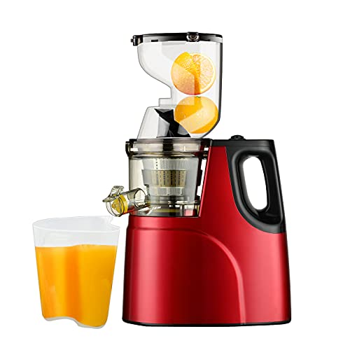 Slow Masticating Juicer, Easy Clean Juice Extractor Machine, Cold Press Juicer with Quiet Motor, Reverse Function, High Yield, Wide Feed Chute, 2 Juice Cup 1 Brush for Vegetables and Fruits Use