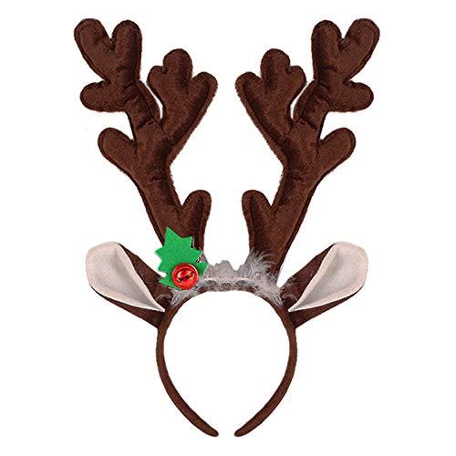 Christmas Reindeer Antler Headband Xmas Deer Antler Ears Headpiece Women Cute Elk Fawn Horn Hair Hoop Hair Band Hairband Holiday Party Decoration Cosplay Costume Handmade Hair Accessories Brown