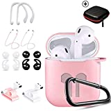 Airpods Case Pink,HOOXIN Airpods Accessories Set,12 in 1 Protective Silicone Cover and Skin for Apple Airpods Charging Case with Airpods Ear Hook Grips/Airpods Staps/Airpods Clips/Skin/Tips/Grips